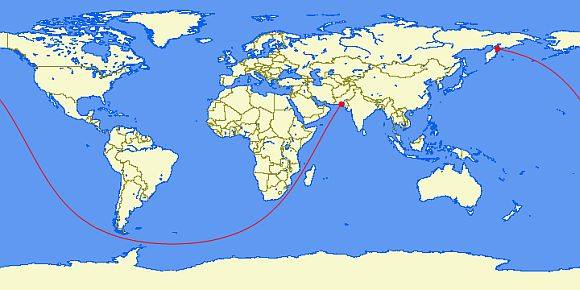 Spherical World Map.A Straight Line On A Spherical Earth 20 000 Mile Great Circe