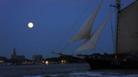 """""""Supermoon"""" over the bow of Clipper City.  Click for a larger image."""