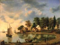 Sunset at Gowanus Bay in the Bay New York (1851) by Henry Gritten