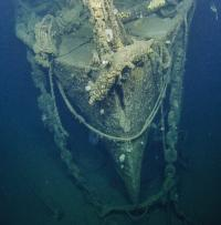 Bow of USS Independence, seen for the first time after 65 years. Photo: Ocean Exploration Trust.